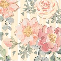 Tecido Digital Floral Rosas - Fundo Bege Listrado