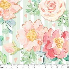 Tecido Tricoline Digital Floral Rosas - Fundo Verde Listrado - 40 cm