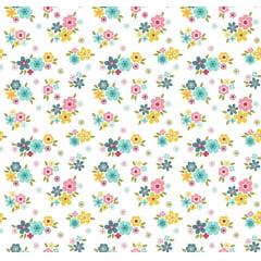 Tecido Tricoline Florescer - Artesanato Patch work - Fundo Branco - Preço de 50 cm X 150 cm