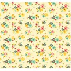 Tecido Tricoline Florescer - Artesanato Patch work - Fundo Creme - Preço de 50 cm X 150 cm