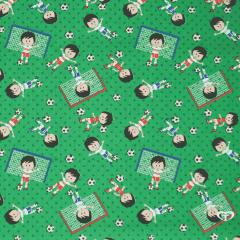 Tecido Tricoline Futebol - Fundo Verde -  Preço de 50 cm x 150 cm