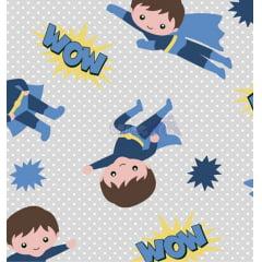 Tecido Tricoline Super Herói Gael Azul - Fundo Cinza com Micro Poá Branco