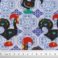 Tecido Tricoline Galo de Barcelos - Fundo Branco - Preço de 48 cm x 150 cm