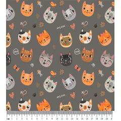 Tecido Tricoline Gato Meow - Fundo Cinza Rato - Coleção Cat Lovers