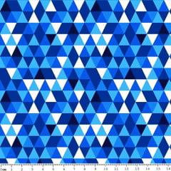 Tecido Tricoline Geométrico - Tons de Azul - Preço de 50 cm x 150 cm
