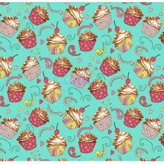 Tecido Tricoline Gigi Cupcake - Fundo Tiffany