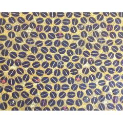 Tecido Tricoline  Grãos de Café - Fundo Amarelo Queimado - 50 cm X 150 cm