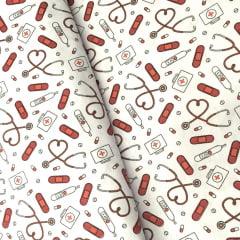 Tecido Tricoline Instrumentos e Curativos Vermelhos - Fundo Branco - Coleção Medicina - Preço de 50 cm x 150 cm