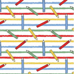 Tecido Tricoline Lápis de Cor  - Fundo Branco com Listras Coloridas