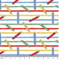 Tecido Tricoline Lápis de Cor  - Fundo Brancocom Listras Coloridas - Preço de 45 cm x 150 cm