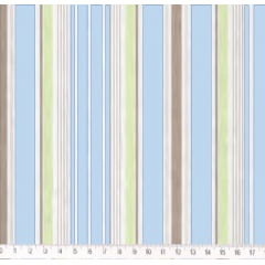Tecido Tricoline Listra Marrom, Bege, Azul Claro, Verde e Branco - Preço de 50 cm X 150 cm