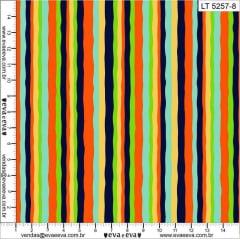 Tecido Tricoline  Listrado Multicolor - Marinho e Laranja - Coleção Coruja Dorminhoca