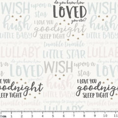 Tecido Tricoline Little Star - Frases em Inglês - Fundo Branco