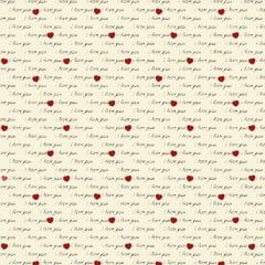 Tecido Tricoline Love You Creme - Preço de 50 cm X 150 cm