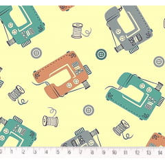 Tecido Tricoline Máquinas de Costura - Fundo Cru