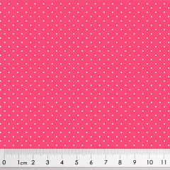 Tecido Tricoline Micro Poá Branco - Fundo Pimenta Rosa - Preço de 50 cm X 150 cm