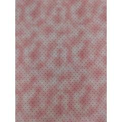 Tecido Tricoline Micro Poá Preto com Poeira - Fundo Rosa - Preço de 50 cm X 150 cm