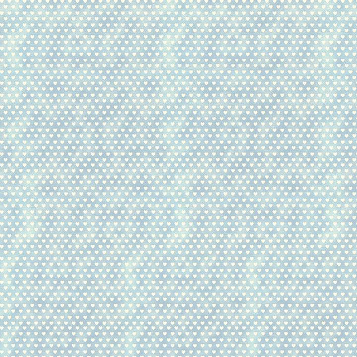 Tecido Tricoline Mini Corações - Fundo Poeira Azul - Preço de 50cm x 150cm