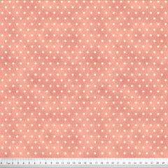Tecido Tricoline Mini Estrelas - Fundo Poeira Coral Claro - Preço de 50cm x 150cm