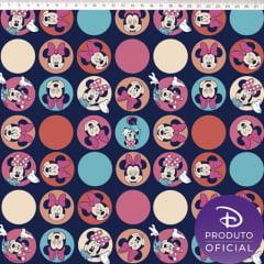 Tecido Tricoline Minnie Mouse em Círculos - Fundo Azul Marinho - Coleção Disney - Preço de 50 cm x 150 cm