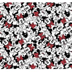 Tecido Tricoline Minnie Mouse Rostos - Fundo Branco - Coleção Disney - Preço de 50 cm x 150 cm