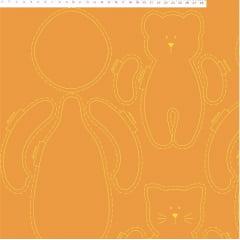 Tecido Tricoline Molde de Boneca na cor Tabaco - Coleção Coração de Pano - Preço de 60 cm x 150 cm