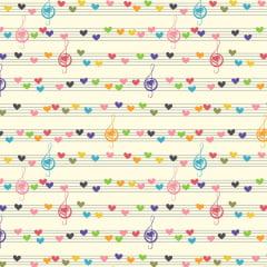 Tecido Tricoline Notas Musicais Coloridas - Fundo Branco - Preço de 50 cm x 150 cm