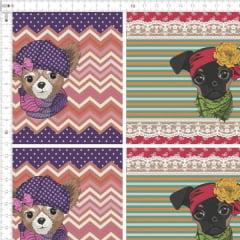 Tecido Tricoline Painel Dogs 2 - Colorido - Preço de 79 cm x 150 cm