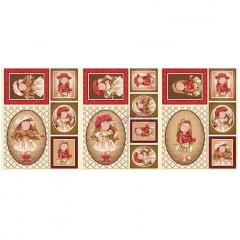 Tecido Tricoline Painel Puppe - Marrom com Bordô - Medida de cada - 60 cm x 150 cm