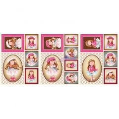 Tecido Tricoline Painel Puppe - Pink e Marrom