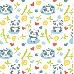 Tecido Tricoline Panda com Bambu - Fundo Branco - Preço de 50 cm x 150 cm