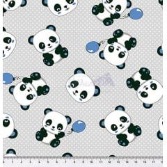 Tecido Tricoline Pandas Azul - Fundo  Cinza com Micro Poá Branco