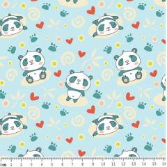 Tecido Tricoline Pandas - Fundo Azul Bebê - Preço de 50 cm x 150 cm