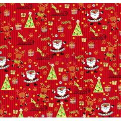 Tecido Tricoline Papai Noel e Árvore de Natal - Fundo Listrado Vermelho - Coleção Natal Gold