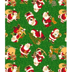 Tecido Tricoline Papai Noel - Fundo Verde