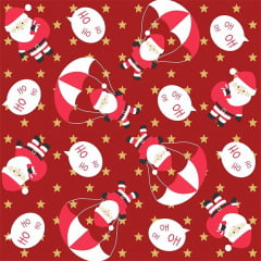 Tecido Tricoline Papai Noel Ho Ho Ho Natal - Fundo Vermelho com Estrelinhas Douradas -  Preço de 50 cm x 150 cm