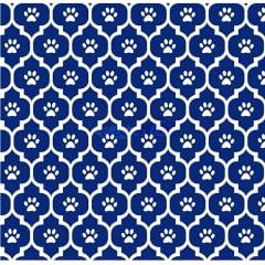 Tecido Tricoline Patinhas Pets- Fundo Azul Marinho - Preço de 50 cm x 150 cm