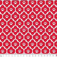 Tecido Tricoline Patinhas Pets- Fundo Vermelho