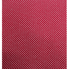 Tecido Tricoline Poá Branco com Fundo Cereja - Preço de 50 cm X 150 cm