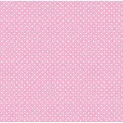 Tecido Tricoline Poá Pequeno Branco - Fundo Rosa Bebê
