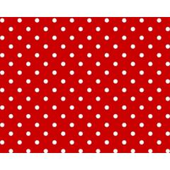 Tecido Tricoline Poá Pequeno Branco - Fundo Vermelho - Preço de 50 cm X 150 cm
