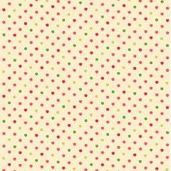 Tecido Tricoline  Poá Pequeno Rosa, Pink e Verde - Fundo Bege Claro - Preço de 50 cm X 150 cm
