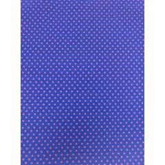 Tecido Tricoline Poá Pequeno Rosa Pink - Fundo Azul Royal - Preço de 50 cm X 150 cm