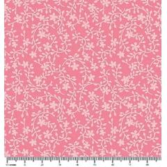 Tecido Tricoline Raminhos Rosa Chiclete - Preço de 50 cm x 150 cm