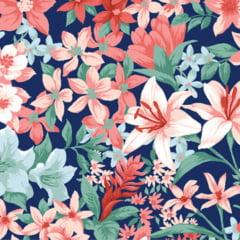 Tecido Tricoline Flores Misturadas - Fundo Azul - Coleção Fiori