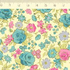 Tecido Tricoline Rosas Pequenas Azul - Fundo Amarelo Claro - Coleção Fiori