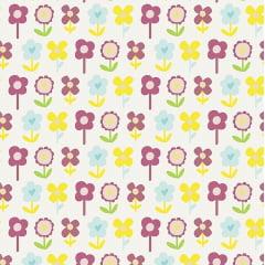 Tecido Tricoline Rosê Blossom - Fundo Branco