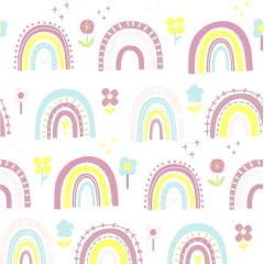 Tecido Tricoline Rosê Flower Rainbow  - Fundo Branco