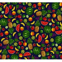 Tecido Tricoline Salada de Frutas - Fundo Marinho