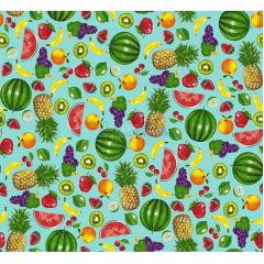 Tecido Tricoline Salada de Frutas - Fundo Tiffany